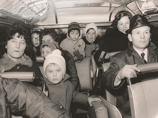 Ethnic German immigrants from Poland going to the transit camp from Friedland Station, c. 1957
